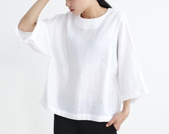 White T shirt,White Blouse,Casual Loose Blouse,Simple Blouse,Linen Silk Tops