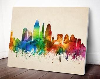 Cincinnati Skyline Canvas Print, Cincinnati Cityscape, Home Decor, Gift Idea, USOHCI05C