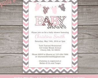 YOU PRINT Onesie Baby Shower Invitation for a Girl - 5x7 or 4x6 Digital File - Pink and Gray - Baby-158