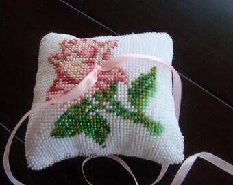 Ring Bearer Pillow.Ring Bearer crochet pillow.Ring cross stich pillow.Weddinh accessory.