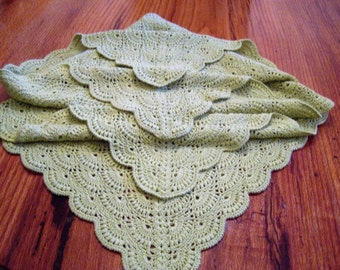 Light Green Lace Crochet Hand-made Acrylic Baby Blanket/Afghan/Lapghan Ready to Ship
