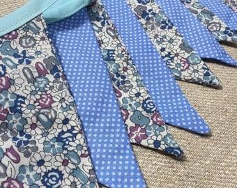 Handmade Floral/Spotty Bunting - Blue
