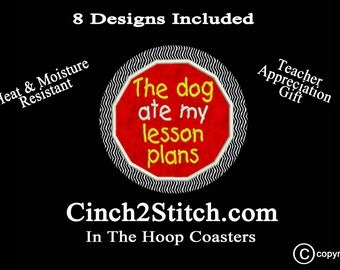 """Teacher Appreciation Coasters - Recycled CDs- 100% In The Hoop - Machine Embroidery Design Download (5"""" x 7"""" Hoop)"""