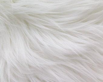 Kingdom of Fabrics MoHair 60 Inch Faux Fur White Fabric by the Yard, 1 yard