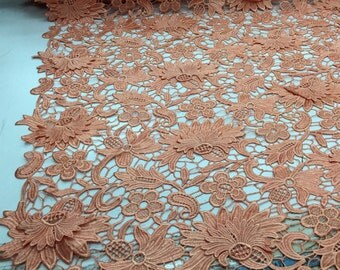 Salmon 3d flower embroider guipure lace. Wedding/Prom/Bridal/Nightgown fabric. Sold by the yard.