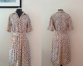Vintage 1960s JAPANESE floral dress / Handmade dress / Vintage Shirtdress / NOS / Vintage Sundress / Summer cycling dress