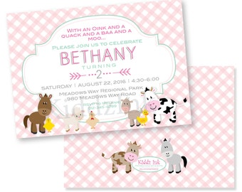 Customized Birthday Invitation for Girl 5x7 with Two Sides - Pink Gingham and Farm Animals - DIGITAL FILE for Printing