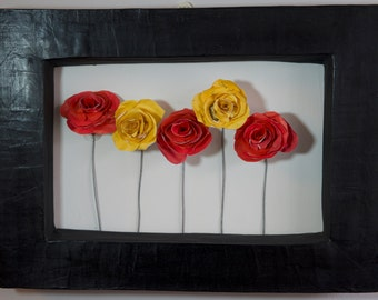 Hand-sculpted Envelope Art, Red & Yellow Roses, 'Sarah' Recycled Paper Cardboard Frame Landscape