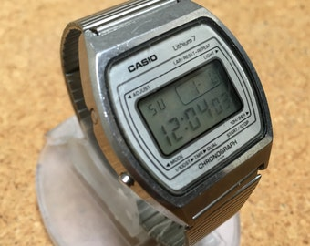 Ultra Rare Collectible Vintage Casio S002 Lithium 7 Mens Steel LCD Digital Quartz Chronograph Watch Hours Clock ~135 Module~ New Battery