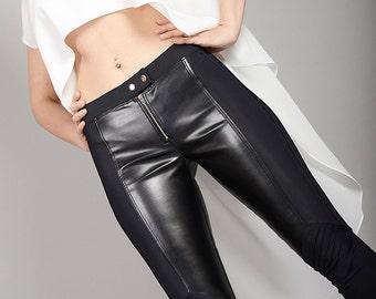 Womens Leather Pants, Latex Leggings, Leather Pants, Leather Leggings, Tight Pants, Womens Tights, Black Leggings, Long Leggings