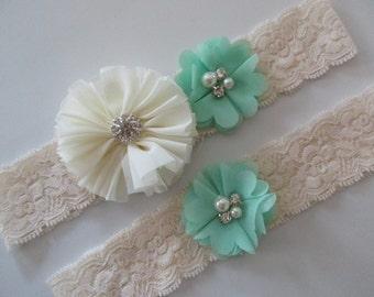 Mint/Ivory Bridal Garter Set, Wedding Garter Set, Toss and Keepsake Garter, Ivory Lace Garter, Bridal Garter, Toss Garter, Mint Garter Set