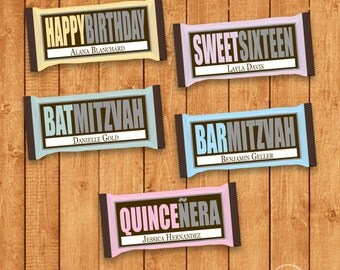 Customized Birthday Party Candy Bar Wrapper for Hershey Bars - You Print