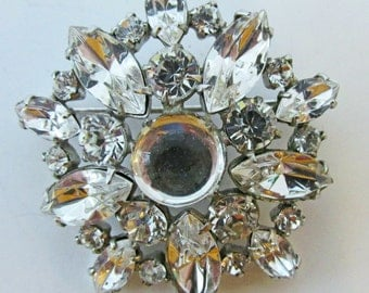 Vintage 1940s Signed Lilly Dache Rhodium Plated Clear Rhinestone Pin (Extremely Rare)