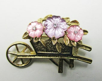 Vintage - Rhinestone Floral Pin - Collectible - Jewelry - Rhinestones - Gold - Sparkling - Mint - Realistic - Floral - Unique - Small
