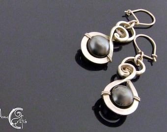 Delicate wirework earrings adorned with hematite gemstones