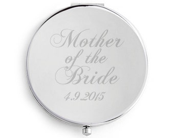 Mother of the Bride Wedding Compact Mirror, Personalised Date engraved