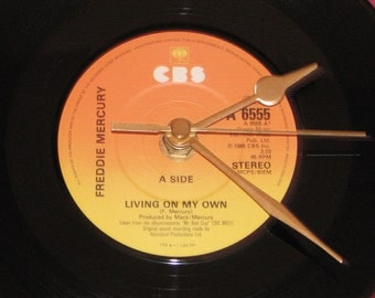 "Freddie Mercury living on my own 7"" vinyl record clock"