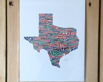 Hand Lettered Texas Print