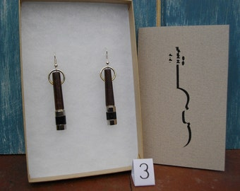 Unique earrings hand crafted from violin parts