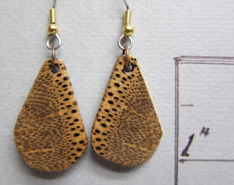 Black Palm Small Earrings drop Exotic Wood Handcrafted by ExoticWoodJewelryAnd Hypoallergenic wires