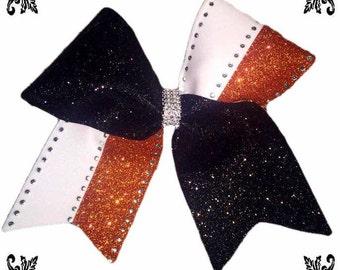 Multicolor rhinestone cheer bow