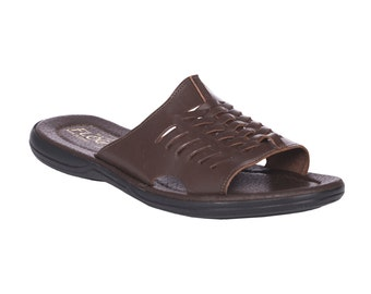 Flip flop leather sandals. Greek leather sandal for Men.FREE SHIPPING in the USA, Dark brown slides - Adonis