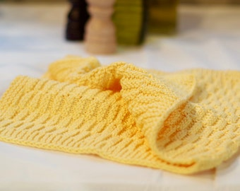 Hand Knitted Kitchen Towel - Bath Towel - Bright Yellow 100% Cotton Yarn Dishcloth - Hand Knit Dish Towel