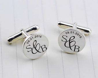Personalized Wedding Cufflinks,Monogarmmed Cufflinks,Custom Engraved Cufflinks,Groom Cufflinks,Wedding Favors,Engagement Gift,Groomsman Gift