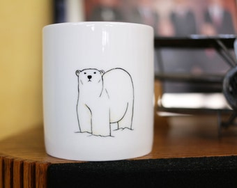 Hand painted animal mug cup - Cute mug cup -Polar Bear mug cup II