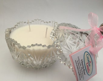 Vintage Hand Poured Soy Wax Candle Cherry Rose Scented