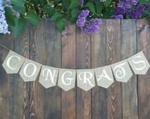 Burlap Banner CONGRATS BANNER Graduation Burlap Banner Congratulations Banner Custom Graduation Party Banner Graduation Photo Prop