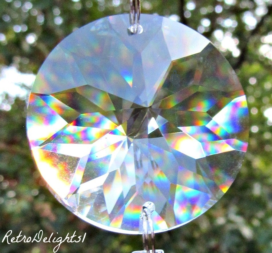 3 Asfour 40mm Single Hole Sun Crystal Prism Disk 1041 40 Sun
