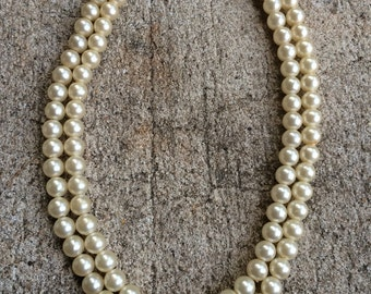 Vintage pearl Beaded Necklace, double strand pearl, Costume Jewelry, doublestrand necklace