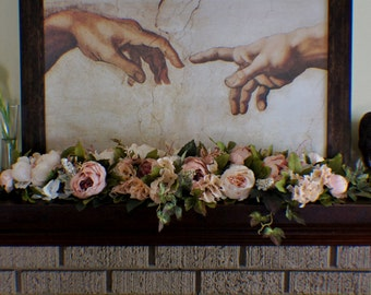 Mantle Swag, Floral Swag, Cream Swag, Fireplace Swag, Wedding Swag, Sweetheart Table runner, Everyday Floral arrangement Table Centerpiece