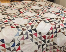 Stunning Antique Multicolored Ocean Waves Quilt Top 68X84""