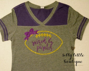 Kids Game Day Shirt Grey & Grape/ Gold w/Purple Glitter sizes 6 months-6x