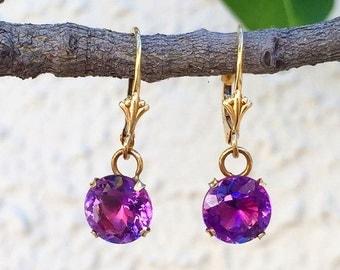 Amethyst And 14K Gold Earrings