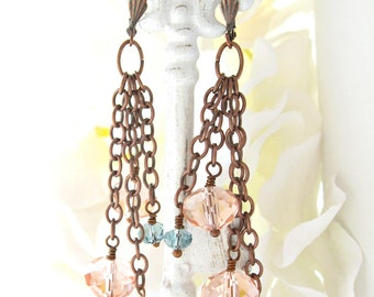 Antique Copper Crystal Earrings - Copper Crystal Earrings - Copper Pink Crystal Earrings - Boho Copper Dangle - Long Copper Crystal Earrings