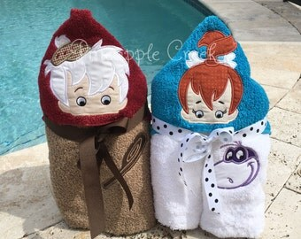 Pebbles and BamBam Hooded Towels FREE MONOGRAM