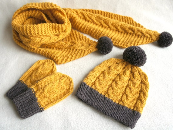 Items similar to Baby knitted hat, scarf and mittens set, wool and alpaca bab...