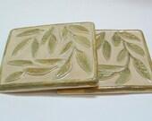 2 Willow Leaf tile, 4.25 inch /kitchen or Bath tile, Botanical tile/green/taupe glaze