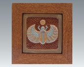 "Framed 6"" Scarab Tile/decor/Egyptian/victorian/steampunk"