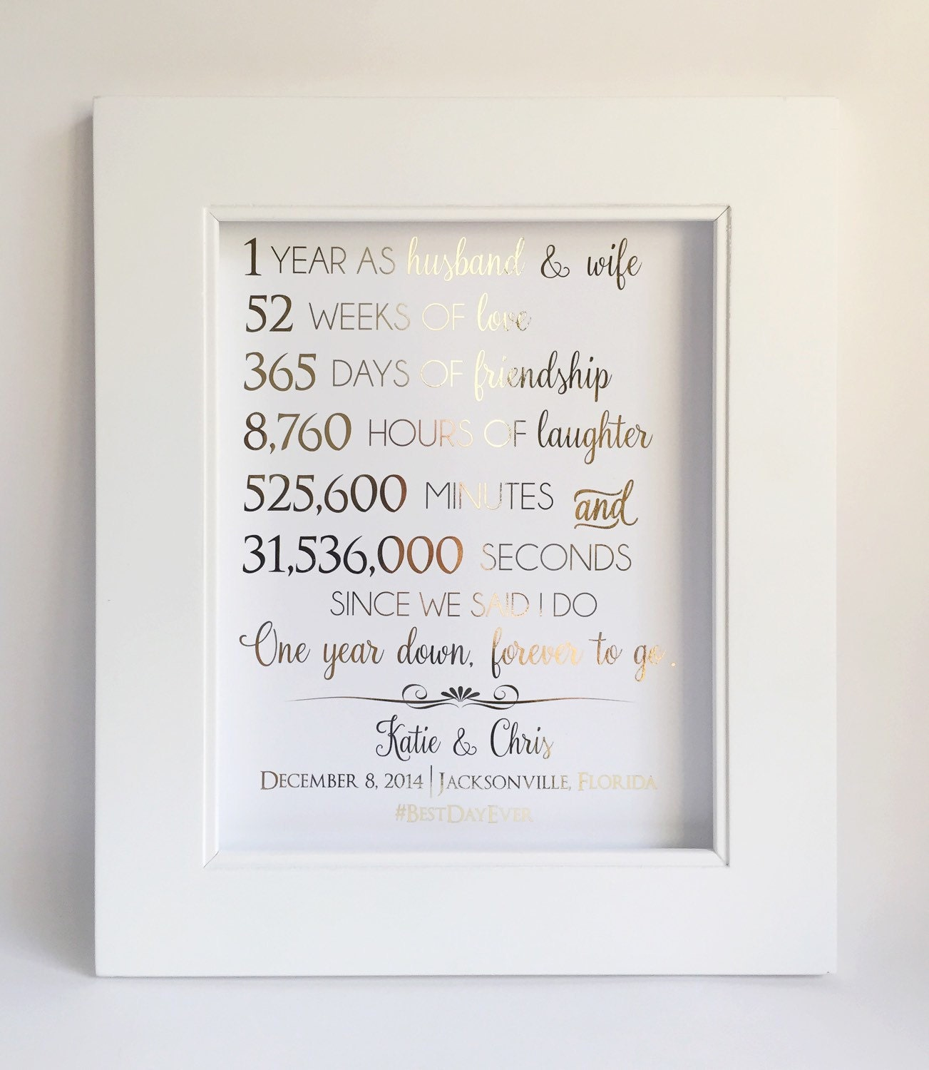 First 1st anniversary gift anniversary gift for husband or for Gift ideas for first wedding anniversary to wife