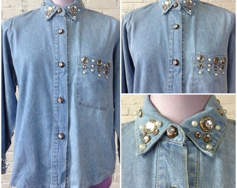 80s vintage women's denim blouse bejewled w clear and pearly baubles / size M