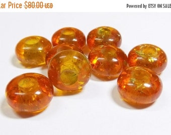 50% OFF Chinese Amber-Smooth Fancy Stylist-Roundel Big Hole Beads-Handmade Beads-10 Piece 8x14 mm-5 mm Hole-Free Shipping