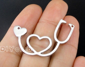 6pcs of Antique Tibetan silver Stethoscope charm pendants 2 sided 39x28mm
