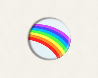 Rainbow one-inch pinback button badge - small pin