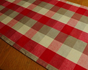 Country Check table runner red beige home decor table and linens