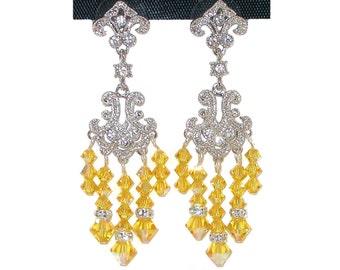 Light Topaz YELLOW Chandelier Earrings Silver Prom Formal Swarovski Elements