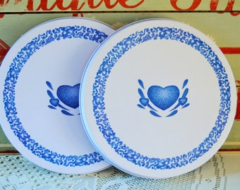 Blue Hearts : Enamel Stove Top Burner or Coil Covers by Corelle 1970s ; Vintage Cookware ; Set of 2